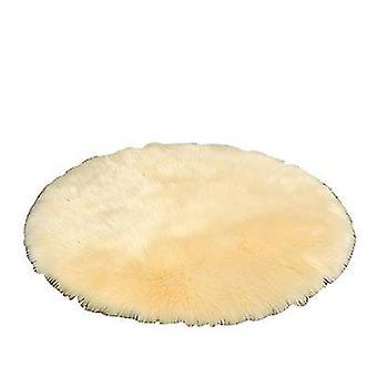 2Pcs 30cm white plush round bedroom carpet round cushion az17596