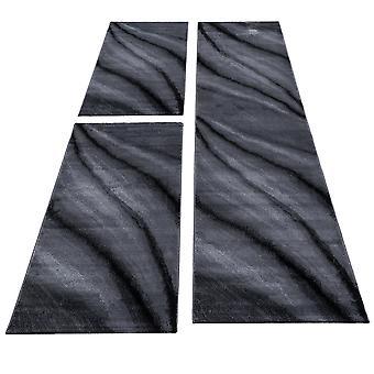 Bed border runner carpet abstract waves pattern runner set 3 parts bedroom hallway Mottled Black Grey