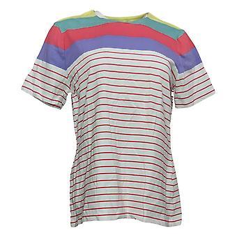 Denim &co. kvinners topp aktiv stripete jersey hvit a354171