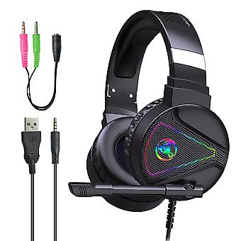 F16 Rgb Gaming Headset, Wired Headset For Computer Laptop Tablet