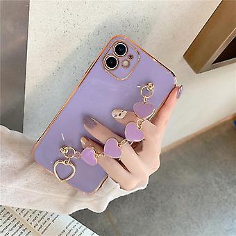 Ren farve galvanisering kærlighed soft shell til æble mobiltelefon sag med håndled rem
