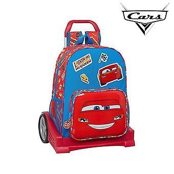 School Rucksack with Wheels Evolution Cars Mc Queen Blue Red