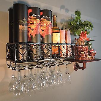50CM Metall Wand montiert Weinflasche Aufbewahrungsregal mit Glasbecher Halter