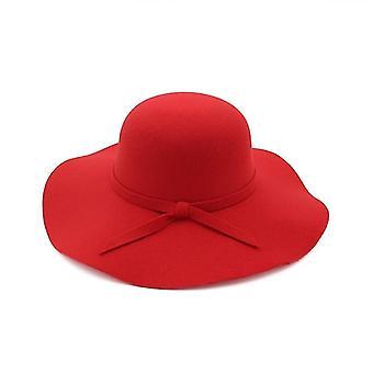 Mujeres Bucket Cap Soft Vintage Wide Brim Wool Felt Bowler Fedora Hat (One Size)