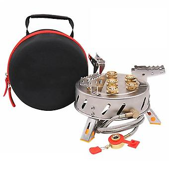 12800W outdoor camping stove 9-head gas burner outdoor camping picnic tour portable 7/9 hole fire brimstone stoves burner 캠핑용품