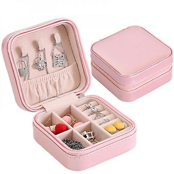Portable Travel Jewelry Case Storage Boxes Solid Color Stud Earring Ring Organizer,white