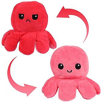 Juguetes de peluche de pulpo reversibles rosa y rojo 20cm, ¡muestra tu estado de ánimo sin decir una palabra!