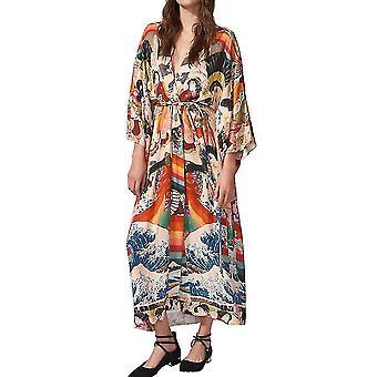 Loose Women Cardigan Beachwear Boho Estampado Longo Biquíni Cobrir