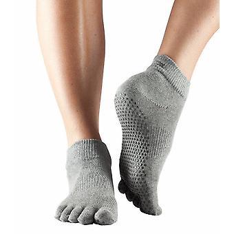 ToeSox Full Toe Ankle Pilates Yoga Dance Non Slip Exercise Studio Socks - Heather Grey