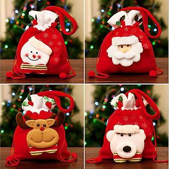 Evago 22cm * 18cm Christmas Bags, 3d Xmas Gift Bags, Christmas Wrapping Bags, Xmas Goodie Bags, Red Treat Pouch Bags, Sack Stockings, Party Favor Bags