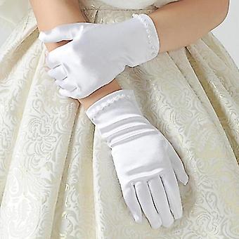 Etiquette Gloves Pearl Short Lace Bow Halloween Christmas Princess Dance