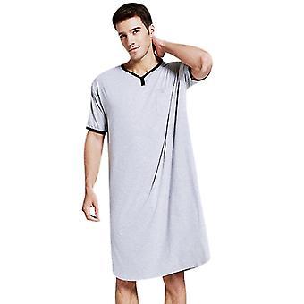 Férfiak hosszú rövid ujjú hálóing night shirt puha kényelmes otthoni ruházat
