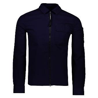 C. P. Company C.p. Företag 11cmsh158a Gabardine Lätt Zip Krage Overshirt Jacka - Blå