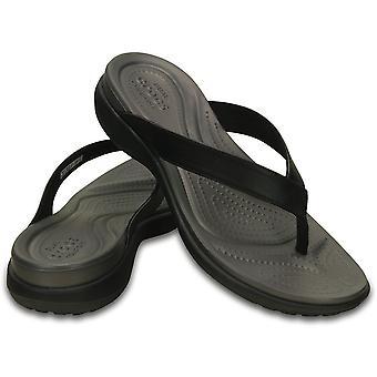 Crocs women's capri v flip flops thongs summer comfy - black/graphite