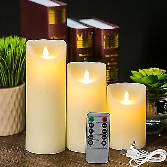 3pcs Rechargeable Flameless Candles Lights, LED Candles Light Smooth Flickering Candle Light