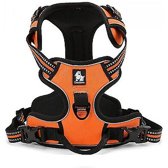 Orange l no pull dog harness reflective adjustable with 2 snap buckles easy control handle mz556