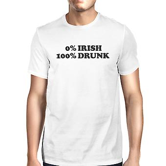 0% Irish 100% Drunk Men's White T-shirt Funny Gift Ideas For Irish