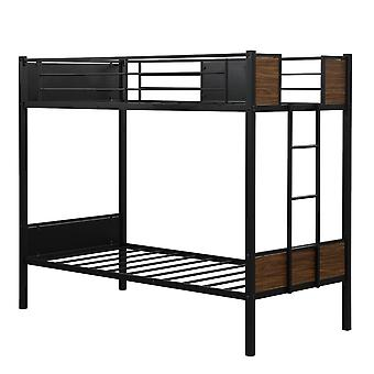 Single Bunk Bed Frame With Bulit In-ladder And Full-wrapped Guardrail