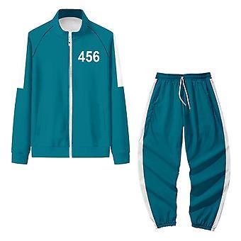 Squid Game Jacket Pants Set Cosplay Sports Cardigan Digital 456 Printing Zipper Pocket Sweatshirts