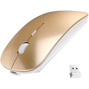 Újratölthető 2,4g hordozható USB vezeték nélküli egér 3 állítható dpi, 20 hónapos akkumulátor-élettartam (arany)