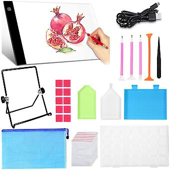43 Pieces Diy 5d Diamond Painting Tool Kit With Dimmable A4 Led Light Board Storage Box, Stand, Diamond Pen, Glue For Kids Adults For Drawing Designin