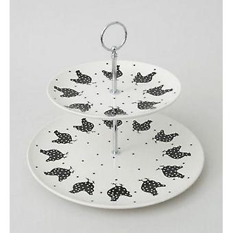 2 Tier Chicken Cake Stand Cookies Black