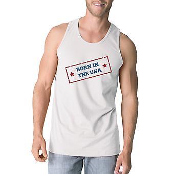 Родился в США белые уникальный графический Безрукавка для мужчин идеи подарка