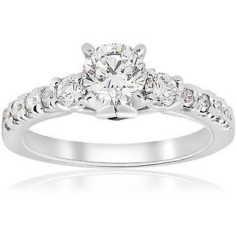 1ct Diamond & prinsesse kuttet blå safir 3 stein forlovelsesring 14K hvitt gull