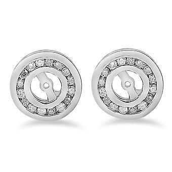 1/2 cttw diamond korvakoru takit 14K valkoinen kulta (jopa 4mm)
