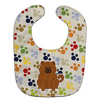 Carolines aarteita BB5971BIB Pawprints Chow Chow punainen vauvan ruokalappu