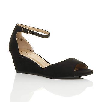 Ajvani kvinners lav midt kile hæl peep toe ankelen stroppen smart casual kvelden sandaler