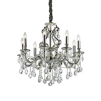 Ideal Lux Gioconda Traditional Ceiling Pendant With Diamante Design 8 Light