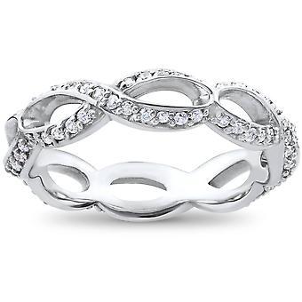 3/4ct Diamond Infinity Eternity Ring 14K White Gold