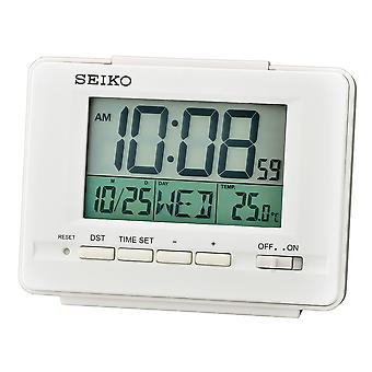 Seiko LCD Alarm Clock with Calendar and Thermometer White (Model No. QHL078W)