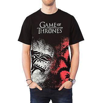 Spiel der Throne T Shirt Haus Sigil Face off neue offizielle Logo Mens schwarz