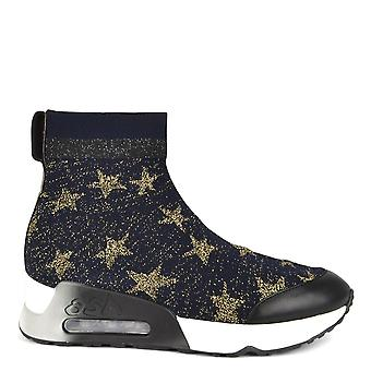 Ash Footwear Lulla Star Knit Midnight And Gold Trainer