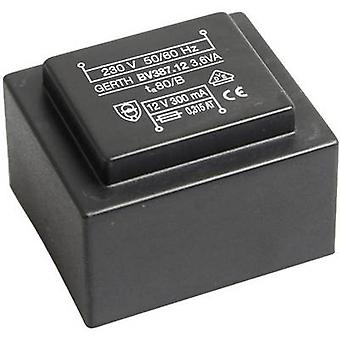 Gerth PTG381502 PCB mount transformer 1 x 230 V 2 x 7.50 V AC 3.60 VA 240 mA