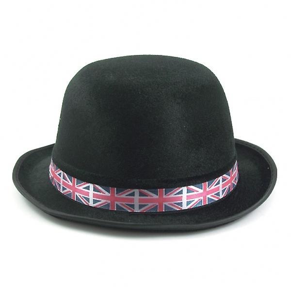 Union Jack Wear British Black Bowler With Union Jack Band