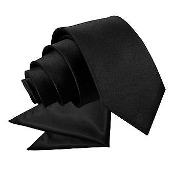 Schwarze schlichte Satin Krawatte & Pocket Square Set für Jungen
