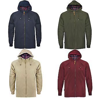 Lambretta Mens Two Tone Outdoor Long Sleeve Zipped Hooded Parka Jacket Coat