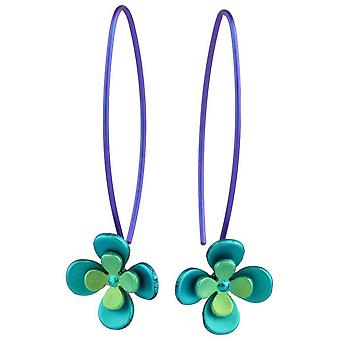 Orecchini pendenti TI2 titanio doppio quattro petali di fiori - verde