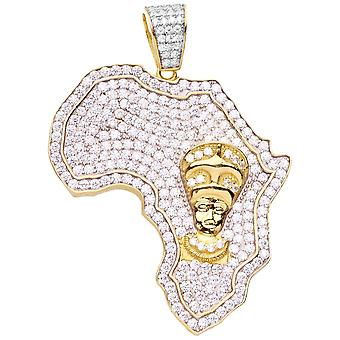 Premium Bling 925 sterling silver Africa pendant gold