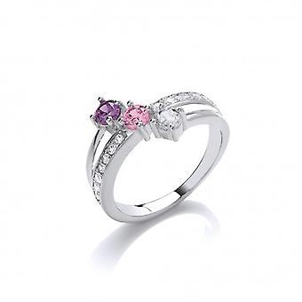 Cavendish Francia ' Pinks és purples ' CZ solitaires Ring
