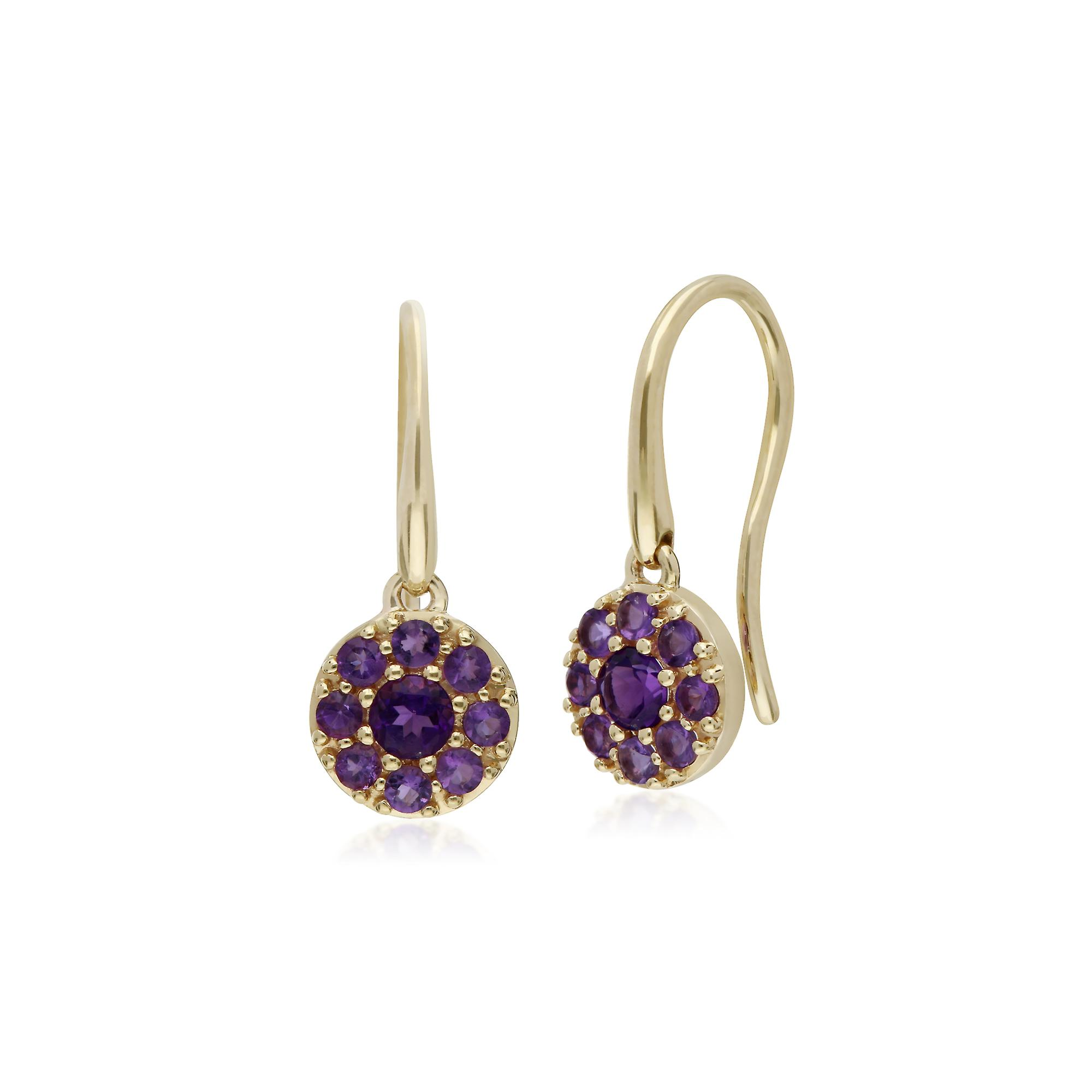 Gemondo 9ct Yellow Gold Amethyst Round Cluster Drop Earrings