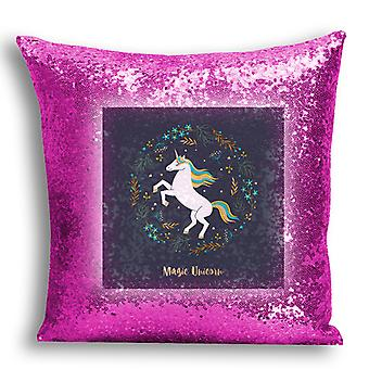 i-Tronixs - Unicorn Printed Design Pink Sequin Cushion / Pillow Cover with Inserted Pillow for Home Decor - 12