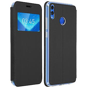 Window flip case, flip wallet case with stand for Honor 8X - Black