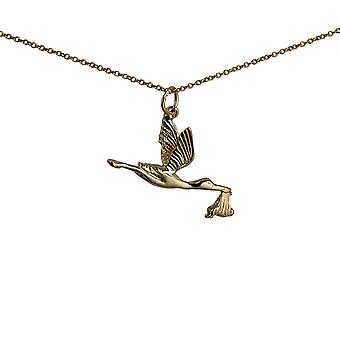 9ct Gold 22x30mm solid Stork with Baby Pendant with a 1.1mm wide cable Chain 20 inches
