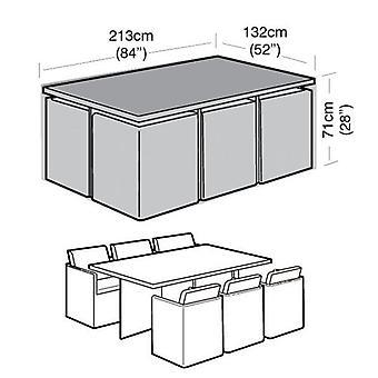 6 üléses téglalap alakú kocka rattan kerti bútor tárolókészlet fedél 213Cm