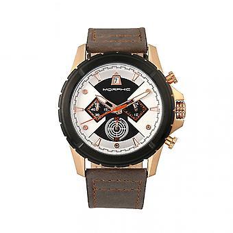 MORPHIC M57 serie chronograaf lederen-Band horloge - Rose goud/grijs