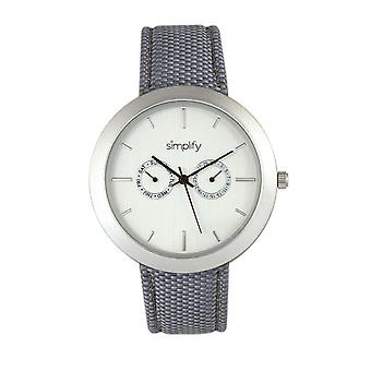 Simplify The 6100 Canvas-Overlaid Strap Watch w/ Day/Date - White/Grey